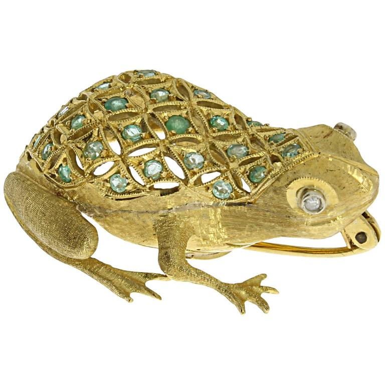 Emerald Diamond Gold Frog Brooch