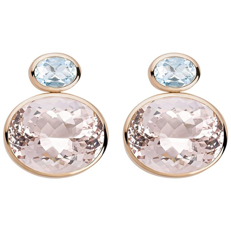 Colleen B. Rosenblat Morganite Aquamarine Gold Stud Earrings