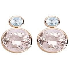 Colleen B. Rosenblat Morganite Aquamarine Gold Stud Earrings
