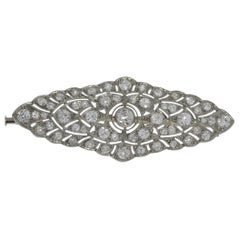 1920s Stunning French Diamond Platinum Brooch