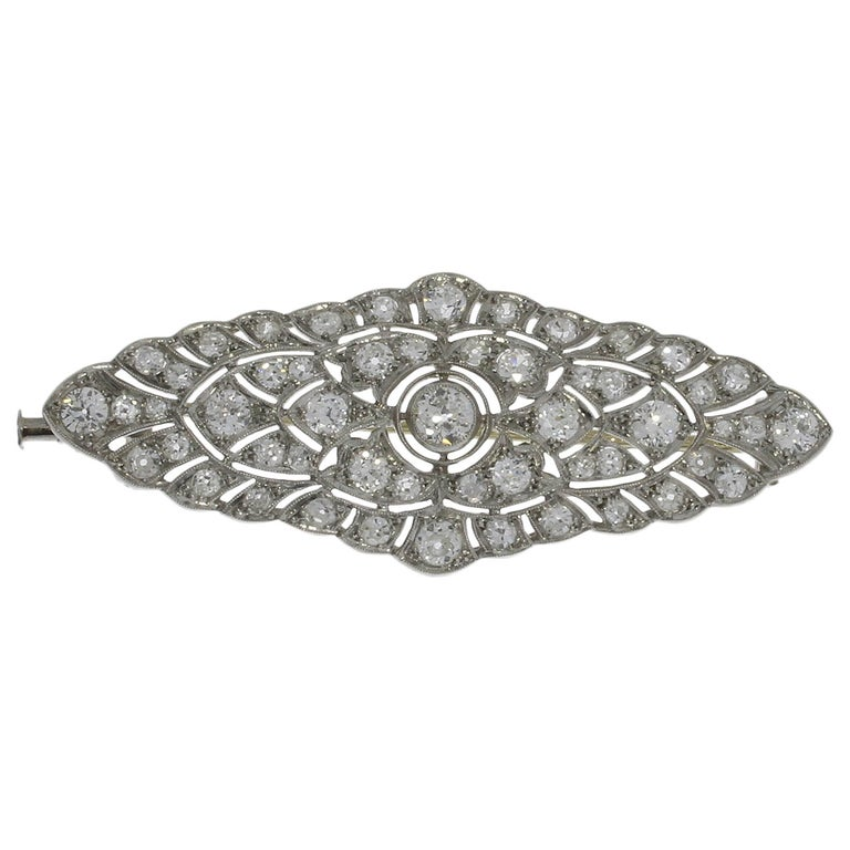 1920s Stunning French Diamond Platinum Brooch For Sale