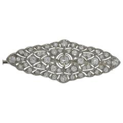 1920s Stunning French Diamond Platinum Brooch