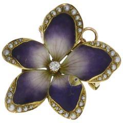 Beautiful Art Nouveau Pearl Diamond Gold Violet Flower Brooch Pendant