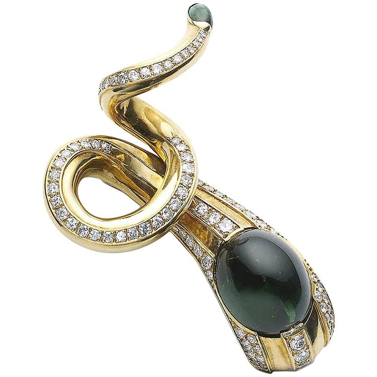 Tourmaline & Diamond Snake Brooch