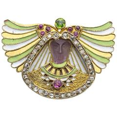 Egyptian Revival Carved Amethyst and Gem-Set Brooch, Austria-Hungary, Circa 1880