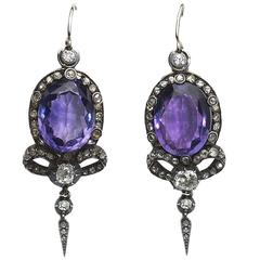 Victorian Amethyst Diamond Silver Gold Earrings