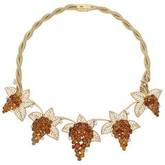 Boucheron Retro Citrine Diamond Fruiting Vine Gold Necklace