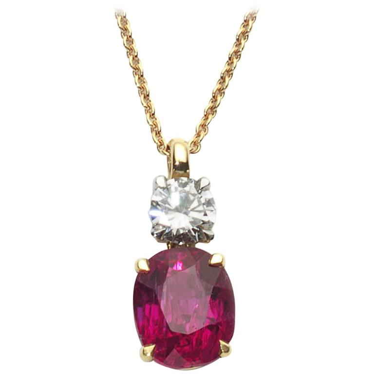 Ruby Diamond Gold Pendant Necklace
