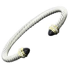 David Yurman Black Onyx Diamond Stainless Steel Gold Cable Classics Bracelet