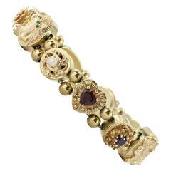 Pearl Gemstone Gold Full Slide Bracelet