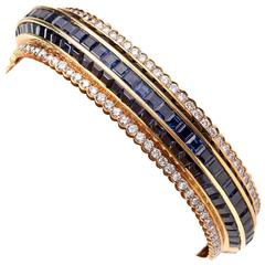 Blue Sapphire Diamond Gold Bangle Bracelet