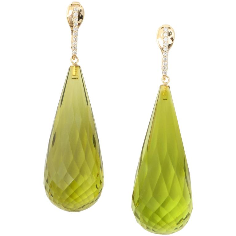 Green Amber and Diamond Gold Long Drop Earrings