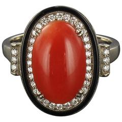 Art deco Coral Onyx and Diamond Ring