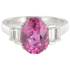 Modern 3.55 carat Pink Sapphire and Baguette Cut Diamond Ring
