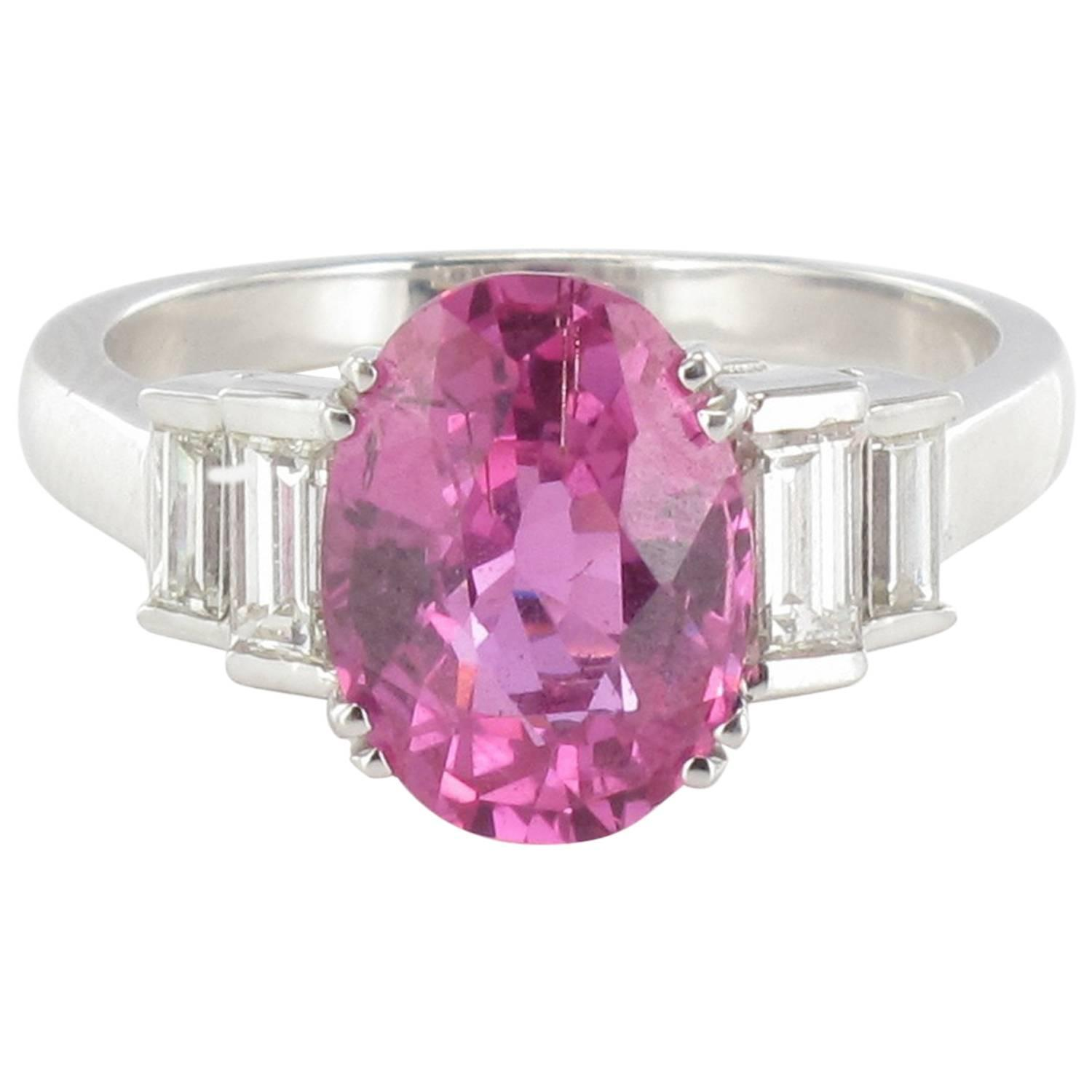 Modern 3.55 carat Pink Sapphire and Baguette Cut Diamond Ring For ...
