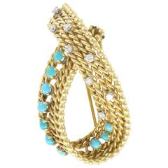 Antique diamond and turquoise brooch