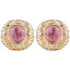 18K Yellow Gold Cabochon Rose Quartz and Diamond Earrings