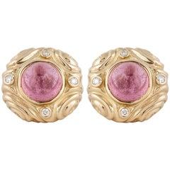 18K Rose Quartz Diamond Earrings