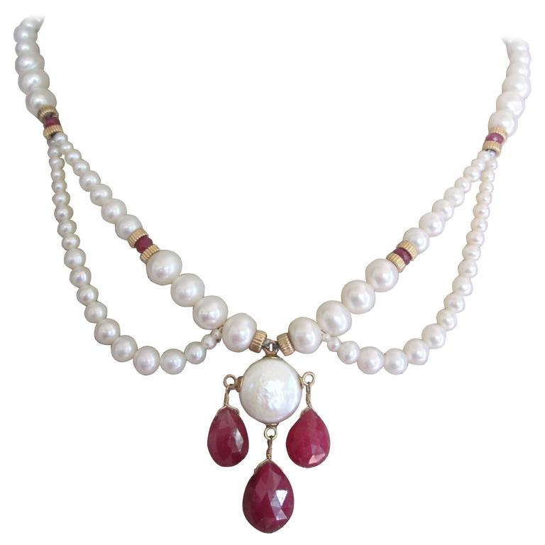Pearl Draped Necklace with Ruby Briolettes For Sale