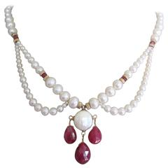 Graduated Pearl Draped Necklace with Ruby Briolettes , 14k gold clasp and beads