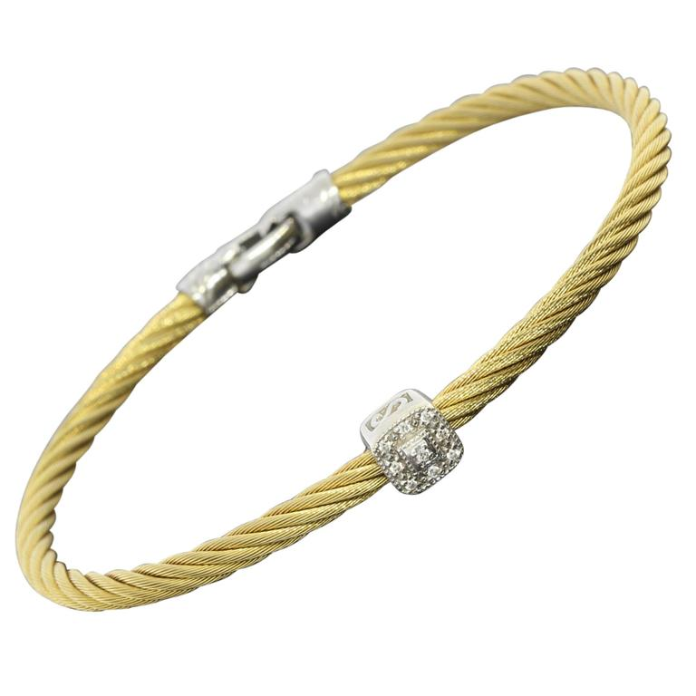 Charriol Single Diamond Station Stainless Steel Gold Cable