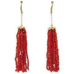 Faceted Carnelian Dangle Tassel Earrings with Gold Filigree Cap