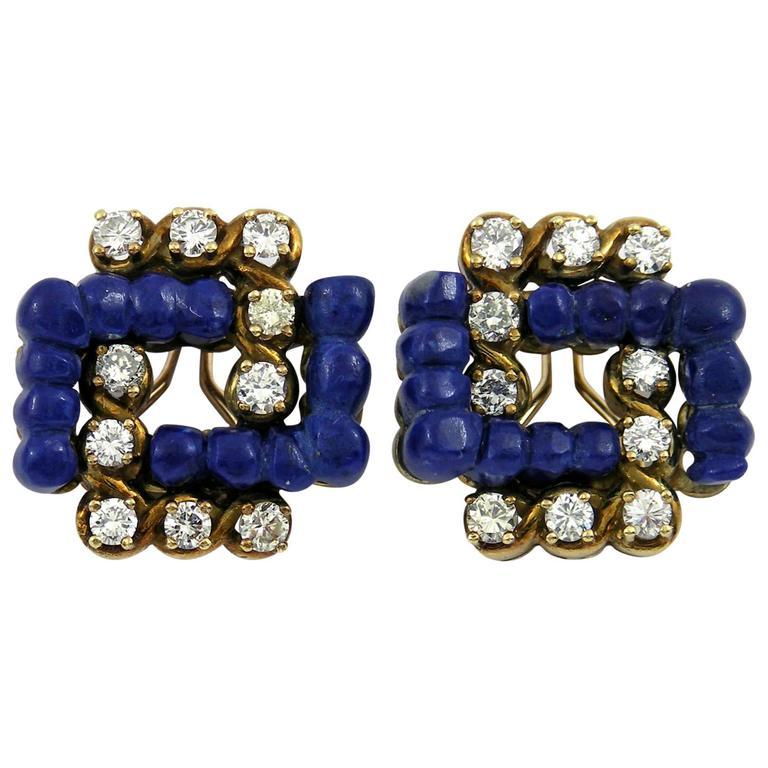 Lapis Diamond Gold Earrings