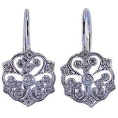 Diamond Gold Filigree Earrings
