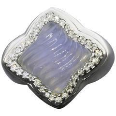 David Yurman Chalcedony Diamond Gold Quatrefoil Ring