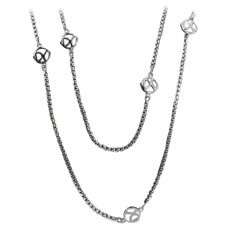 David Yurman 36 Inch 6 Station Logo Box Chain Necklace at 1stdibs