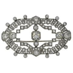 1920s Diamond Platinum Brooch
