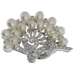 Art Deco Pearl Diamond Gold Brooch Clip