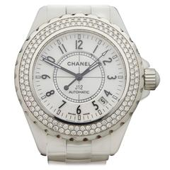 Chanel Lady's J12 Stainless Steel Diamond Automatic Wristwatch Ref H0969