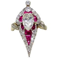 Art Deco Burma Ruby Diamond Platinum Ring