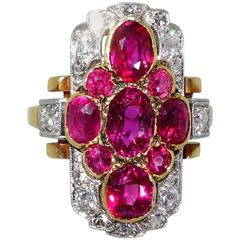 1900 Antique Burma Ruby Diamond Gold Platinum Ring