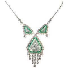 Art Deco Emerald Diamond Platinum Necklace