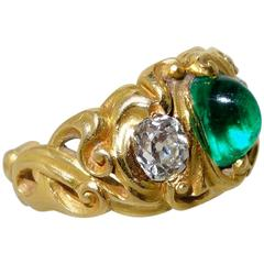 1900 Art Nouveau Emerald Diamond Gold Ring