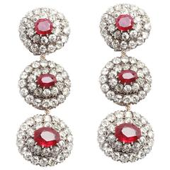 1930s Important Burma Ruby Diamond Platinum Ear Pendants