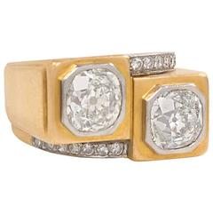French Art Deco Diamond Gold Architectural Design Ring