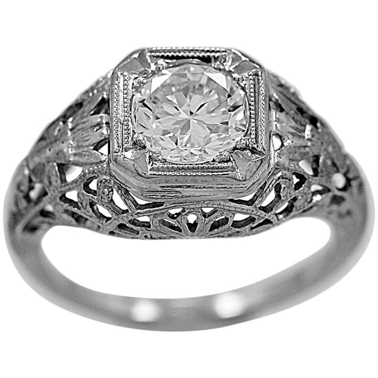 Edwardian Engagement Rings For Sale: Antique Edwardian .90 Carat Diamond Gold Engagement Ring