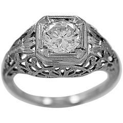 Antique Edwardian .90 Carat Diamond Gold Engagement Ring