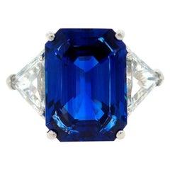 Sapphire Diamond Platinum Three-Stone Ring 8.40 Carat GIA Report