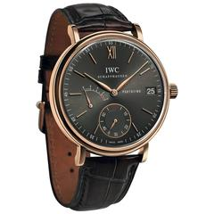IWC Rose Gold Portofino Hand Wound Eight Days Wristwatch
