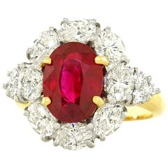 Gorgeous 3.04 Carat Burma Ruby Diamond Gold Platinum Ring