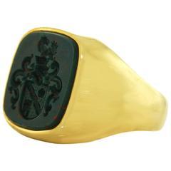 Intaglio Bloodstone Signet Ring