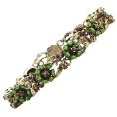 Art Nouveau Enamel Ruby Gold Floral Bracelet