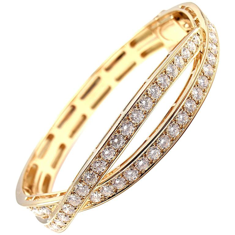Van Cleef & Arpels Diamond Gold Bangle Bracelet For Sale