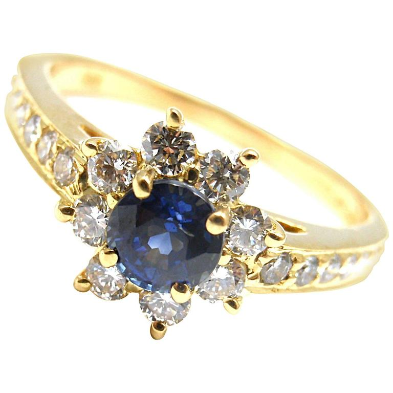 Tiffany & Co. Sapphire Diamond Gold Flower Ring