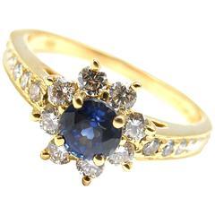 Tiffany & Co. Sapphire Diamond Gold Flower Ring