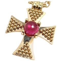 Chanel Pink Tourmaline Gold Maltese Cross Pendant Necklace
